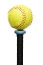 Softball on Knob of Bat Royalty Free Stock Photo