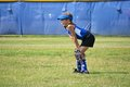 Softball Player Ready for the Next Play Royalty Free Stock Photo