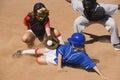 Softball Player Sliding Into Home Plate Royalty Free Stock Photo