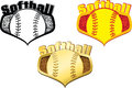 Softball shields vector illustration of a medal with the word on top inside the shield is a with a splatter Royalty Free Stock Photo