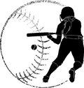 Softball silhouette bunt of a player bunting in with grunge backgrounds Royalty Free Stock Photo