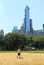 Softball teams playing at heckscher ballfields in central park new york city july on july there are and baseball fields Royalty Free Stock Photo