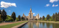 Soften edge sunny view of Moscow university under blue cloudy sky in summer Royalty Free Stock Photo