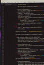 Software code on the black screen Royalty Free Stock Photo