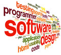 Software design concept tag cloud white background Stock Photos
