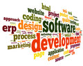 Software development concept tag cloud white background Stock Images