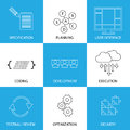 Software development life cycle process concept vector graphic line icons this represents steps like specification planning coding Stock Images