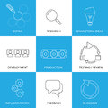 Software engineering project planning process concept vector line icons some of the steps are defining research brainstorming Stock Image