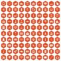 100 software icons hexagon orange