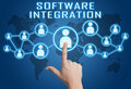 Software integration concept with hand pressing social icons on blue world map background Royalty Free Stock Photography