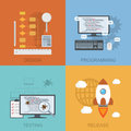 Software lifecycle set of diagrams representinf design programming testing release flat style illustration Royalty Free Stock Image