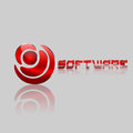 Software logo modern round metal Royalty Free Stock Images