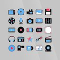 Software media icons set in color Royalty Free Stock Photos