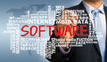 Software with related word cloud concept handwritten by businessman Stock Image