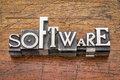 Software word in metal type mixed vintage printing blocks over grunge wood Royalty Free Stock Photography