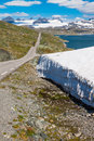 The sognefjellsvegen the highest mountain pass road in northern europe norway view to Royalty Free Stock Photo