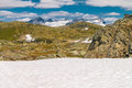 The sognefjellsvegen the highest mountain pass road in northern europe norway view to Royalty Free Stock Images