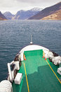 Sognefjord nose of ferry bow the sailing between the rocky shores Stock Image