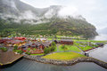 Sognefjord port near wooded mountain Stock Photo