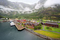 Sognefjord port and railway station Stock Images