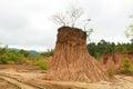 Soil cliff ,Nan,Thailand Royalty Free Stock Photo