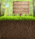 Soil cut in garden with wooden sign background Stock Images