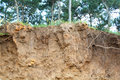 Soil erosion after the destruction of environment Stock Photo