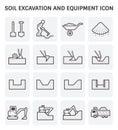 Soil excavation icon