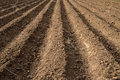 Soil grooves farm lands farming earth over field for crop planting on rural countryside Stock Image