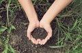 Soil handful female hands humus soil vintage style Stock Image