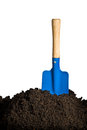 Soil and spade close up of organic isolated on white background Stock Image