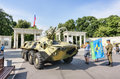 Sokolniki Park, day of Mariners of the Navy with an military amphibious tank expose for tourists and citizens Royalty Free Stock Photo