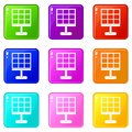 Solar battery icons 9 set