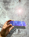 Solar cell against an old wall Royalty Free Stock Image