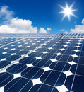 Solar cell against the sun Royalty Free Stock Photos