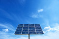 Solar cell power energy grid system in idea concept background