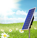 Solar cell and sunray Royalty Free Stock Photo