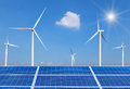 solar cells and wind turbines generating electricity in power station alternative renewable energy from nature