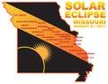 2017 Solar Eclipse Across Missouri Cities Map vector Illustration Royalty Free Stock Photo