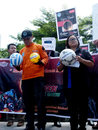 Solar eclipse activists to disseminate scientifically about the on the streets in sukoharjo central java indonesia Royalty Free Stock Photography
