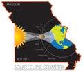 2017 Solar Eclipse Geometry Across Missouri State Map vector illustration Royalty Free Stock Photo