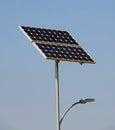 Solar energy capture card for public illumination Stock Photography