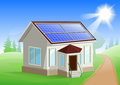 Solar energy. Caring about environment. House with solar panels on roof. Alternative energy sources Royalty Free Stock Photo