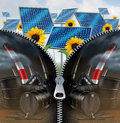 Solar Energy And Fossil Fuel Royalty Free Stock Photo