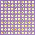 100 solar energy icons set in cartoon style