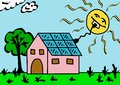 Solar energy illustration of by panels Stock Photo