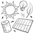 Solar energy objects sketch Royalty Free Stock Photo