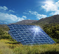 Solar energy panel collectors reflecting sun sunlight glare Royalty Free Stock Photography