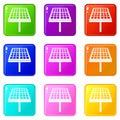 Solar energy panel icons 9 set