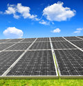 Solar energy panels with blue sky Stock Photo